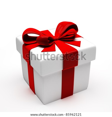 White gift with red bow. 3d illustration