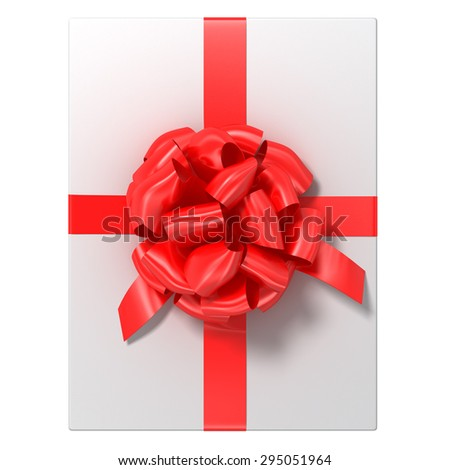 white gift with the red ribbon, image with a work-path - stock photo