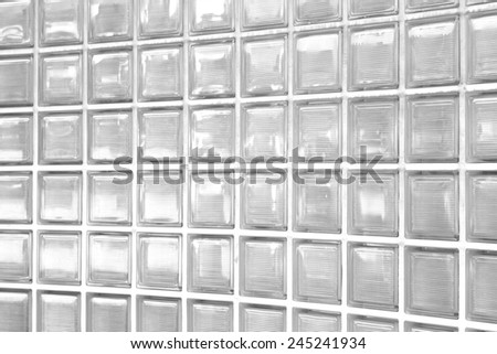 White glass block wall texture and background - stock photo
