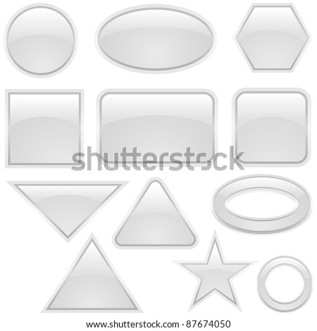 White Glass Buttons - stock photo