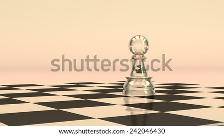 white glass pawn alone on chess board - stock photo