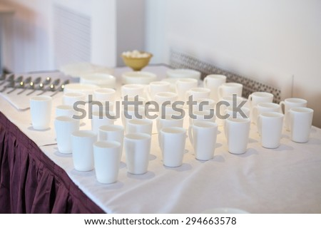 white glasses on the festive table