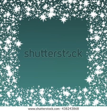 White glittering stars or snowflakes in shape of frame on teal, blue or turquoise background; shiny festive Christmas or winter pattern - stock photo