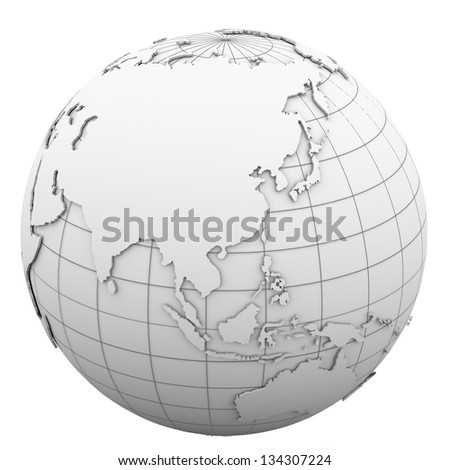 White globe. Isolated render on a white background - stock photo