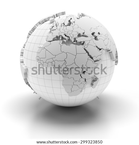 White globe with extruded continents and national borders, Europe, Middle East and Africa regions, 3d render - stock photo