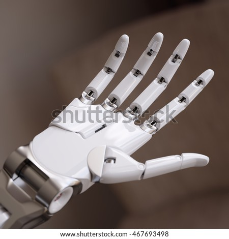 White Glossy Robot Hand Close Up 3d Illustration Concept