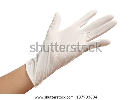 White Glove and Gesturing five on white background - stock photo