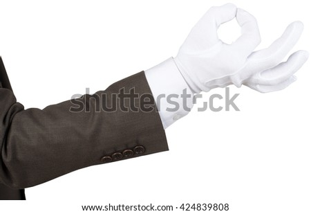 White glove makes ok sign isolated on white background