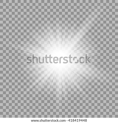 White glowing light burst explosion with transparent. illustration for cool effect decoration with ray sparkles. Bright star. Transparent shine gradient glitter, bright flare. Glare texture. - stock photo
