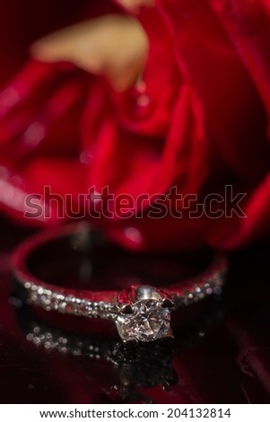 White gold diamond ring in Red rose taken closeup with water drops