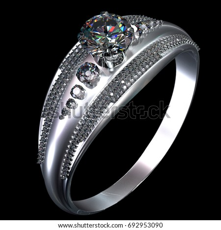 White Gold Engagement Ring Gem Luxury Stock Illustration 692953090