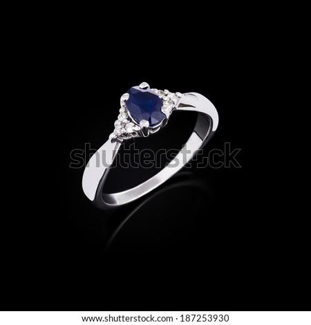 White gold ring with white diamonds  - stock photo