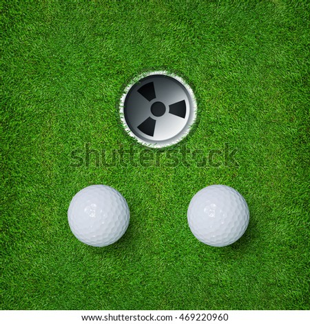 White golf ball and golf hole on green grass of golf course. Abstract golf sport background.