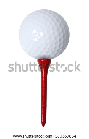 White golf ball and red tee on white background - stock photo
