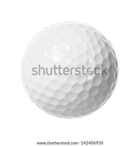 White golf ball isolated - stock photo