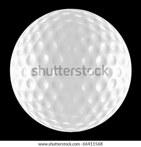 White golf ball isolated against a black background