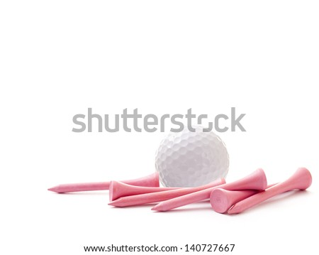 White Golf Ball with Pink Tees on White Background