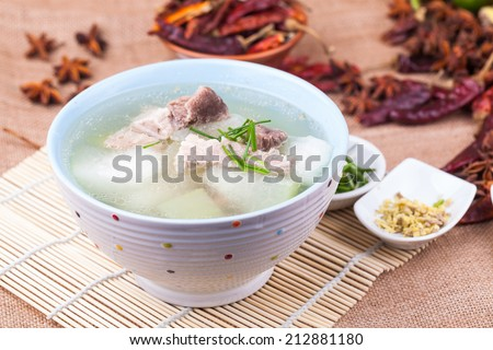 white gourd with pork meat soup - stock photo