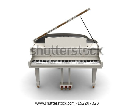 White grand piano. 3d render