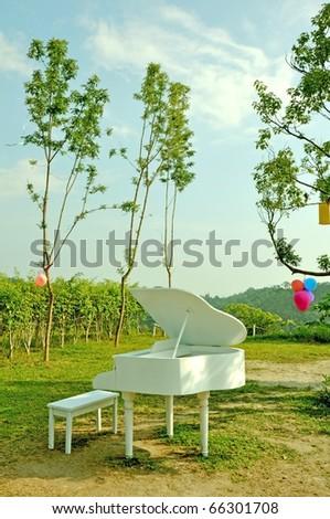 white grand piano on mountain - stock photo