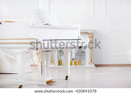 white grand piano standing in elegant interior of  palace hall - stock photo