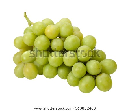 White Grape Bunch and stem. The image is a cut out, isolated on a white background, with a clipping path. The image is in full focus, front to back.