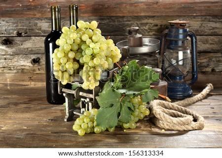 white grapes composition  - stock photo