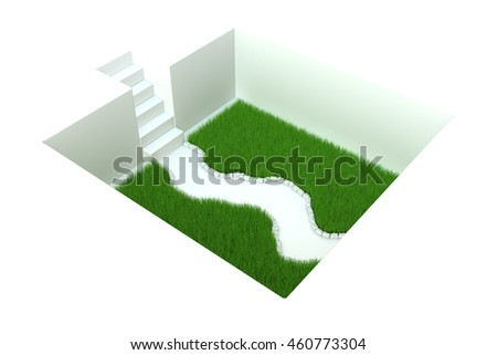 White grass pit with stairs, 3d illustration, horizontal