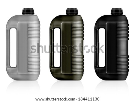 White, gray, black plastic gallon, jerry can  isolated on a white background.  (with clipping work path) - stock photo