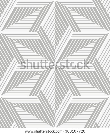 White, gray modern geometric texture by rhombuses, lines. A seamless background. - stock photo