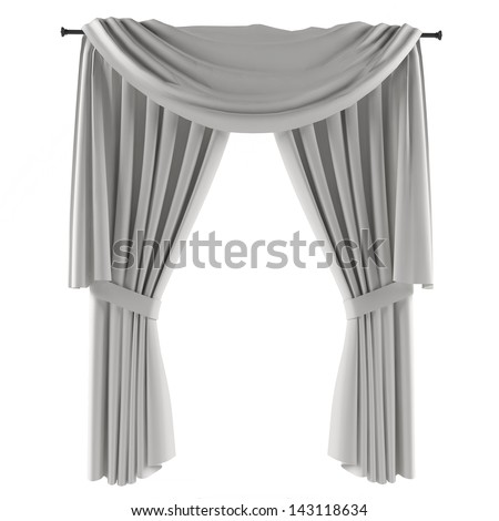 white grey curtain - stock photo