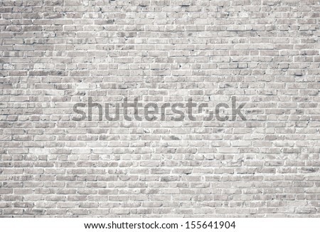 White grunge brick wall background  - stock photo