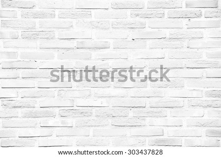 White grunge brick wall texture or pattern for background - stock photo
