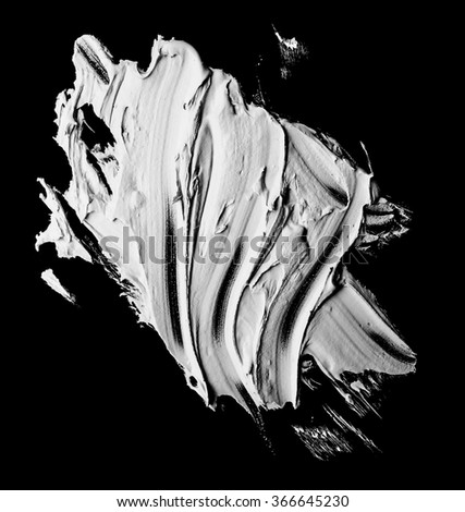 white grunge brush strokes paint on black background
