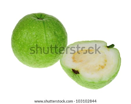White guava and its cross-section, isolated. - stock photo