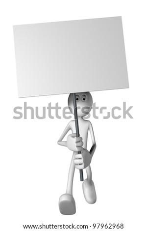 white guy and blank banner - 3d illustration - stock photo