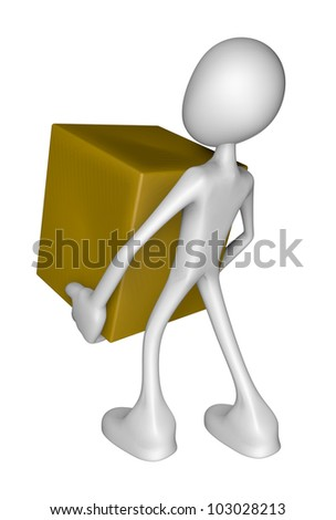 white guy carries a box - 3d illustration
