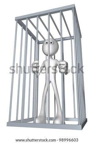white guy in a cage - 3d illustration