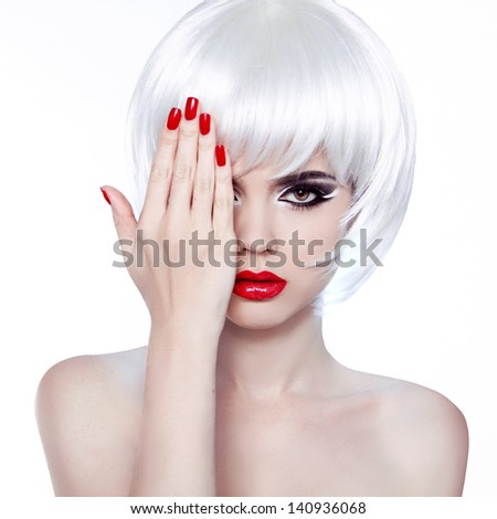 White Hair and Red Nails. Fashion Beauty Girl. Red lips. Manicure and Make-up. Vogue Style Woman. Hairstyle. - stock photo