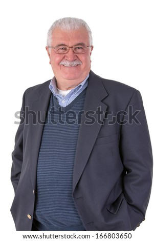 White hair senior adult with mustache looking at you smiling and satisfactorily with his glasses wearing dark blue suit - stock photo