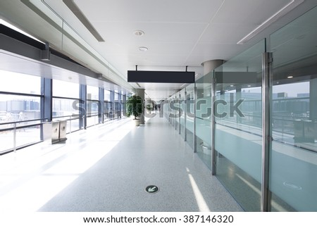 White hall at airport - modern architecture - stock photo