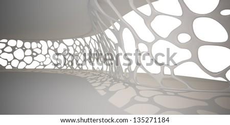 white hall with voronoi wall. - stock photo