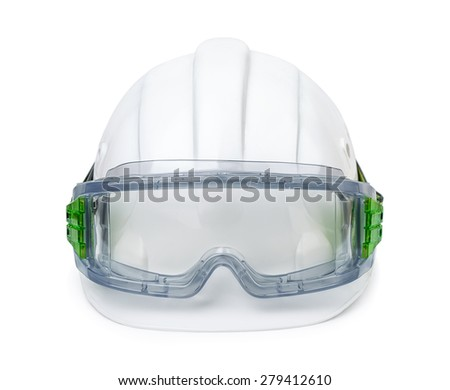 White hard hat and safety goggles isolated on white - stock photo