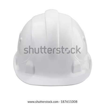 White hard hat - front view isolated on white - stock photo