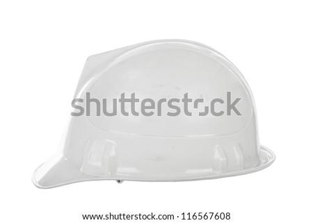 White hard hat isolated on white - stock photo