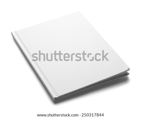 White Hardback Book with Copy Space Isolated on White Background. - stock photo