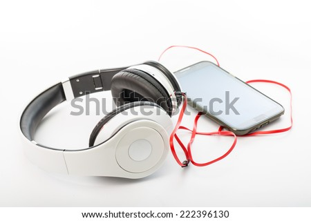 White Headphones Isolated for use your graphic design - stock photo