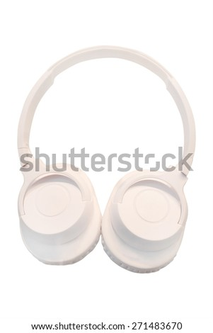 White headphones isolated under the white background  - stock photo