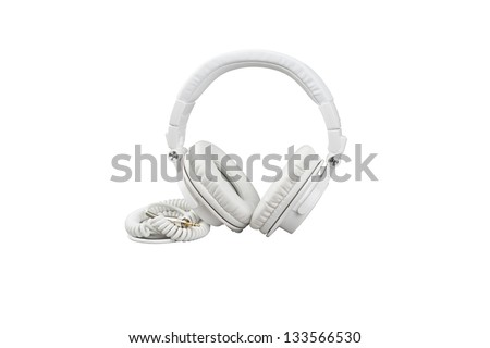 White headphones on white background
