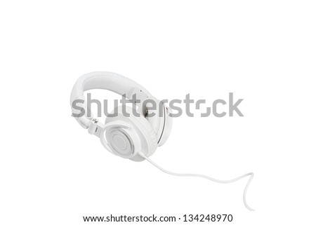 White headphones on white background - stock photo